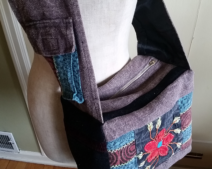handmade hippie patchwork messenger sling bag