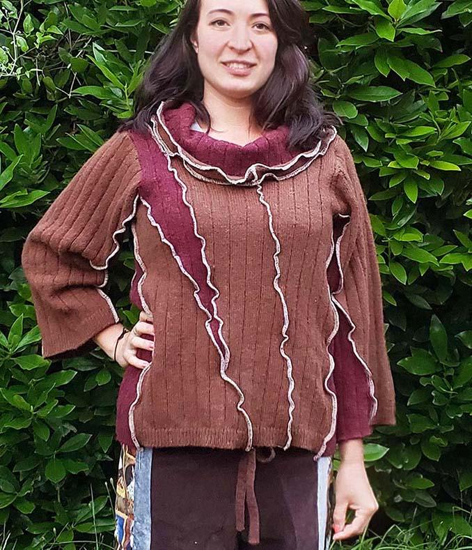 hippie patchwork pullover sweater