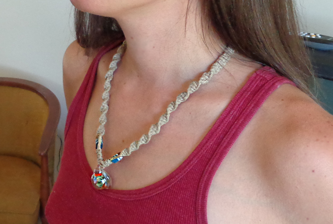hippie hemp macram� necklace
